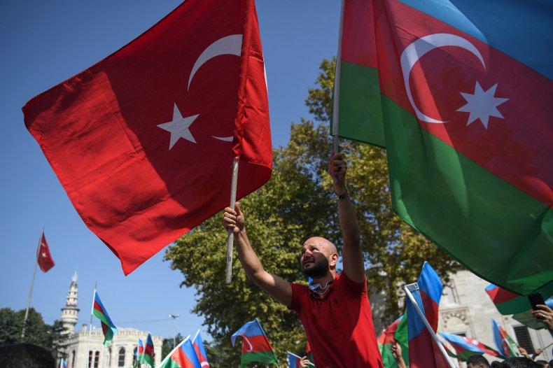 azeri, protest, azerbaijan, turkey, flags