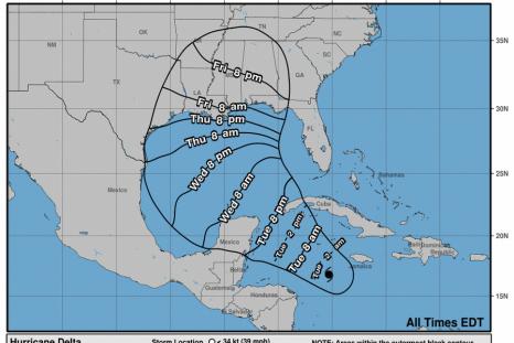 NOAA Hurricane Delta Path Tracker