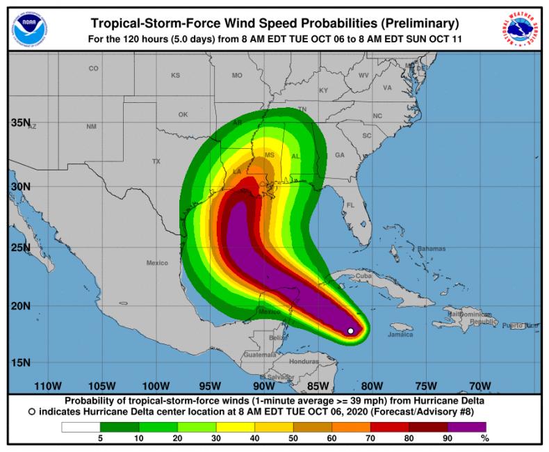 hurricane delta path track forecast landfall