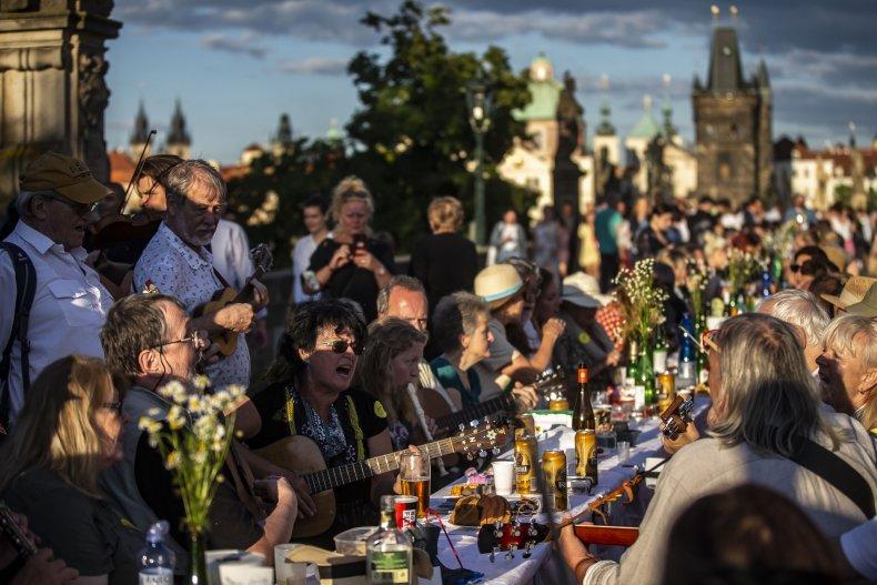 Prague Czech Republic coronavirus farewell party 2020