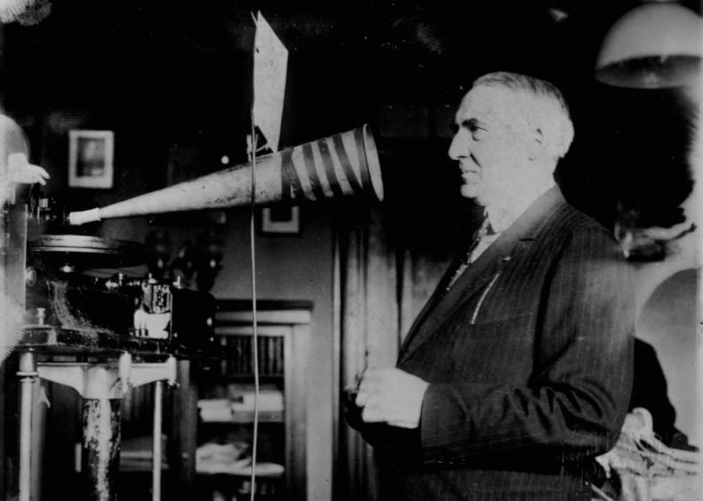 1922: President Warren G. Harding cuts a record