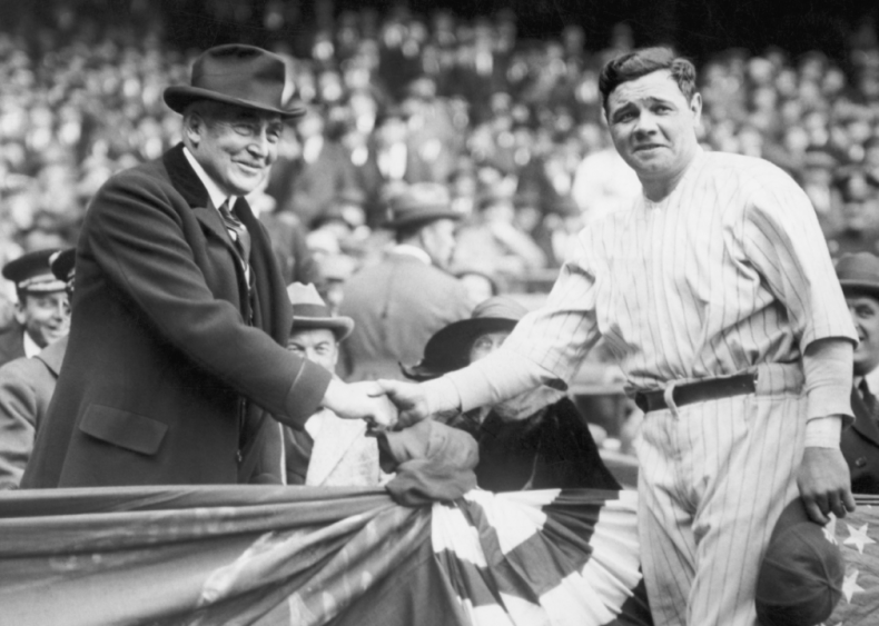 1923: President Harding and Babe Ruth shake hands