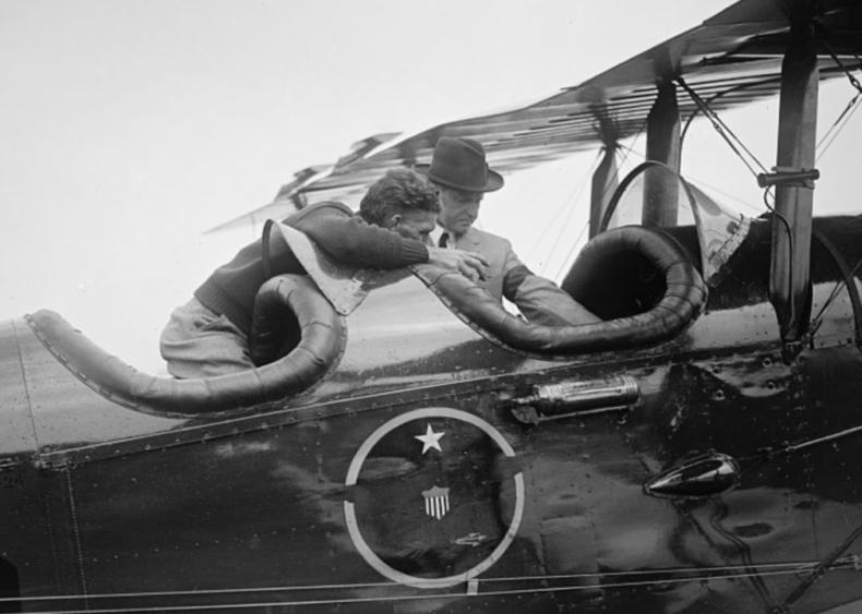 1924: Coolidge inspects world flight plane