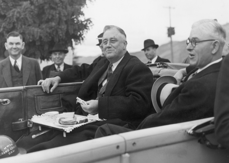 1937: Roosevelt at Grand Coulee Dam in Washington