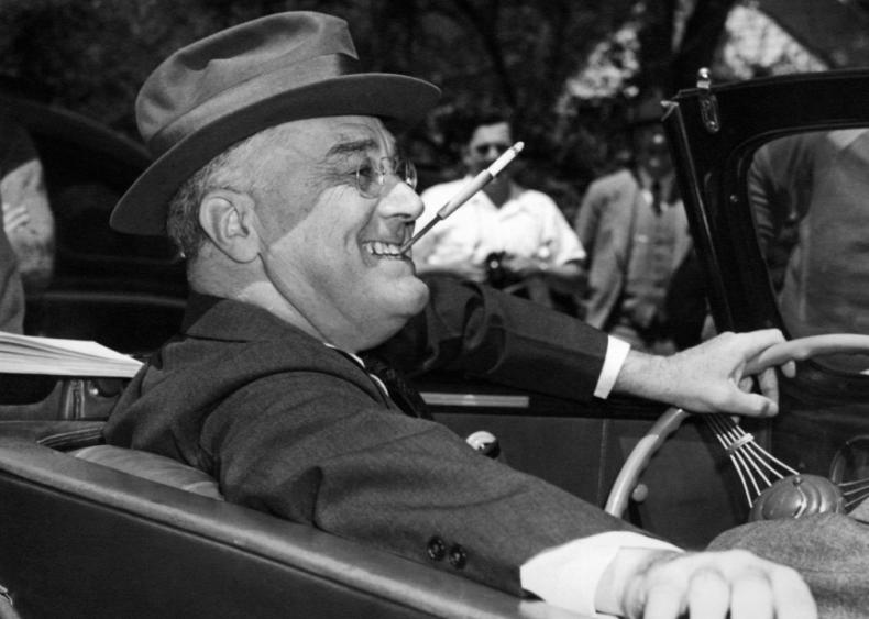 1939: Behind the wheel in Warm Springs, Georgia