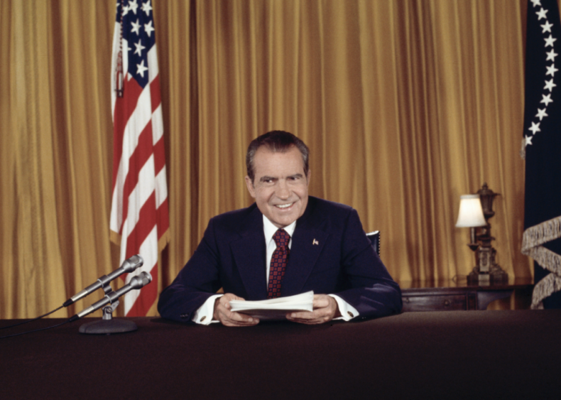 1973: President Nixon after addressing nation on Watergate