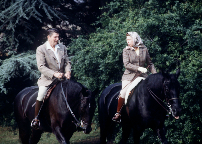 1982: President Reagan rides with the queen
