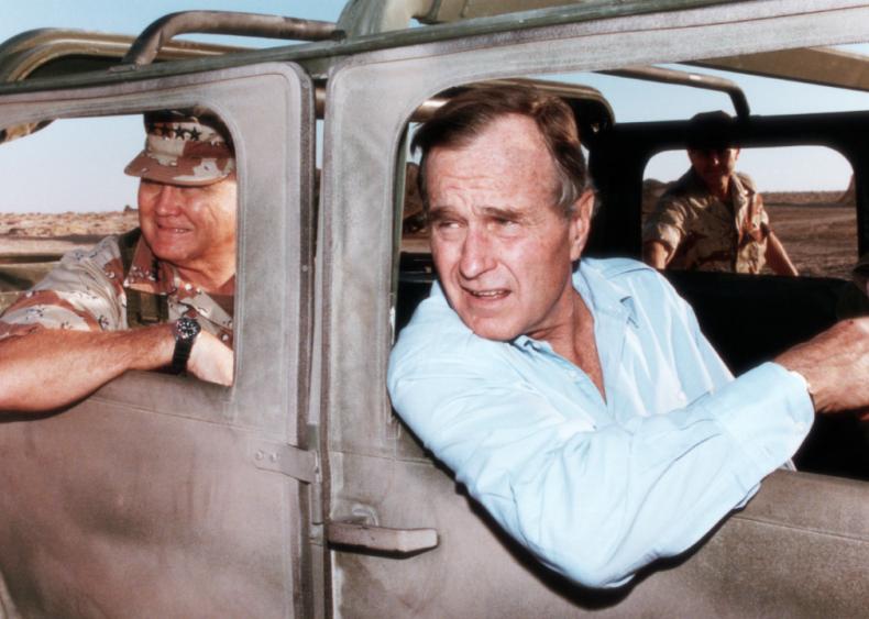 1990: President George H.W. Bush and Schwarzkopf in Saudi Arabia