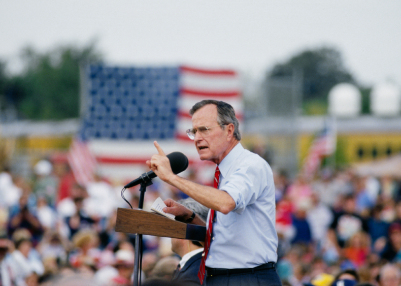 1992: President Bush speaking during campaign