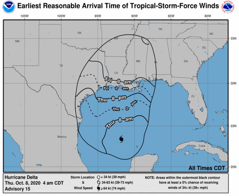 NOAA Hurricane Delta Wind Arrival