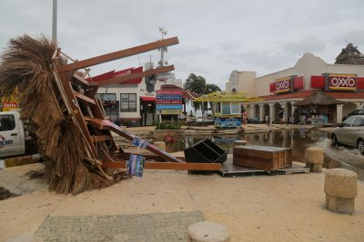 Hurricane Delta Kiosk Knocked Down Cancun