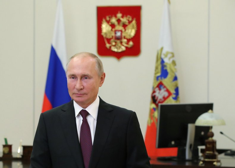 Russian President Vladimir Putin addresses participants of the 7th Forum of the Regions of Russia and Belarus via video feed at the Novo-Ogaryovo state residence, outside Moscow, on September 29, 2020. MIKHAIL KLIMENTYEV/Sputnik/AFP via Getty Images/Getty