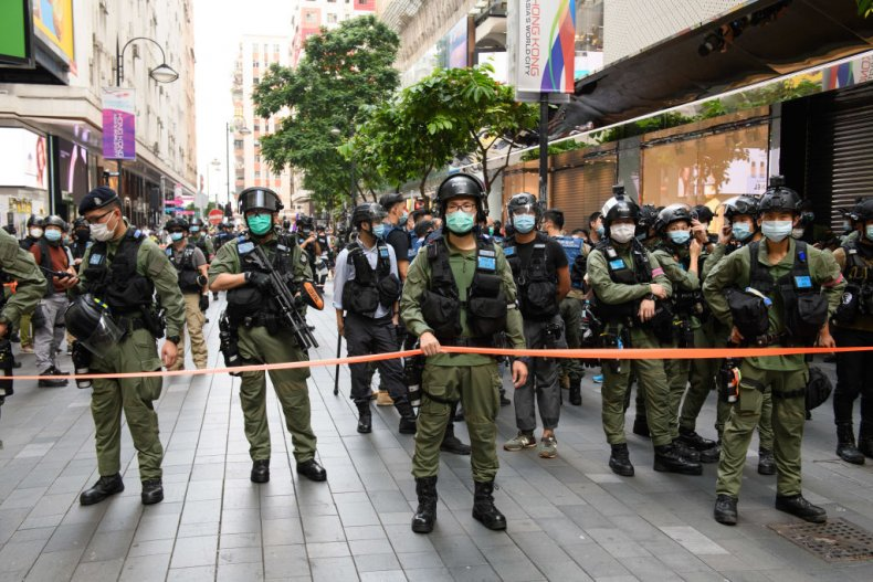 Hong Kong police China protest