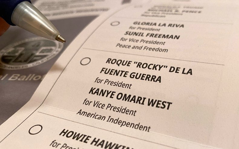 Ballot with Kanye as VP
