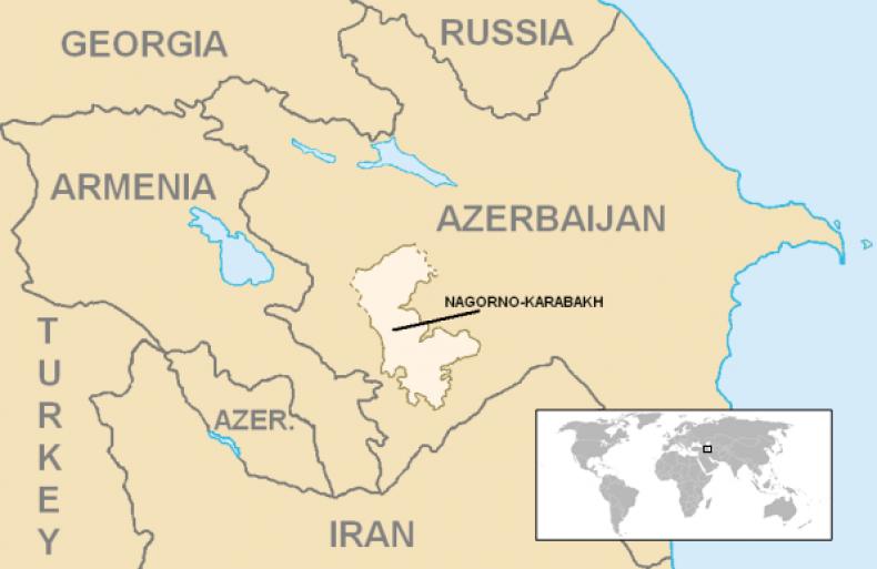 nagorno, karabakh, map, armenia, azerbaijan