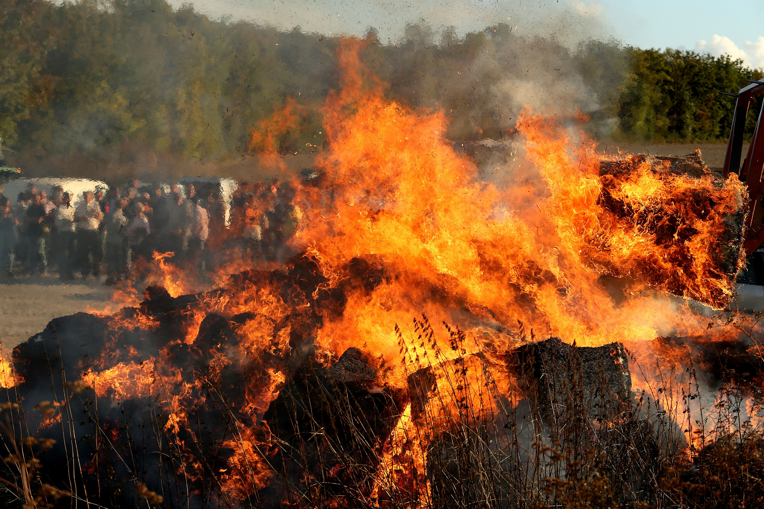 'Up in Flames': Biden-Harris Campaign Hay Bale Display Torched in Massachusetts thumbnail