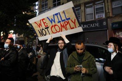 Brooklyn Orthodox Jews antilockdown protest October 2020
