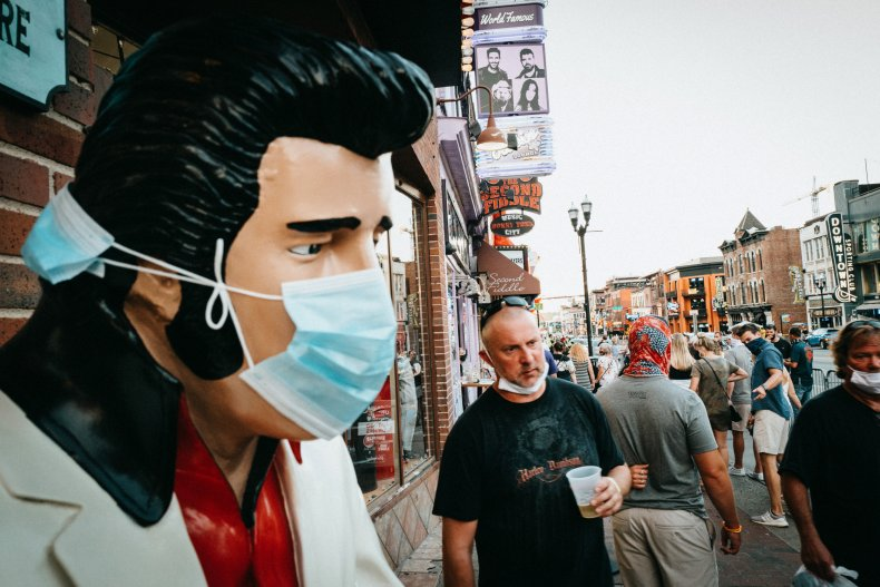 Downtown Broadway Tennessee coronavirus August 2020