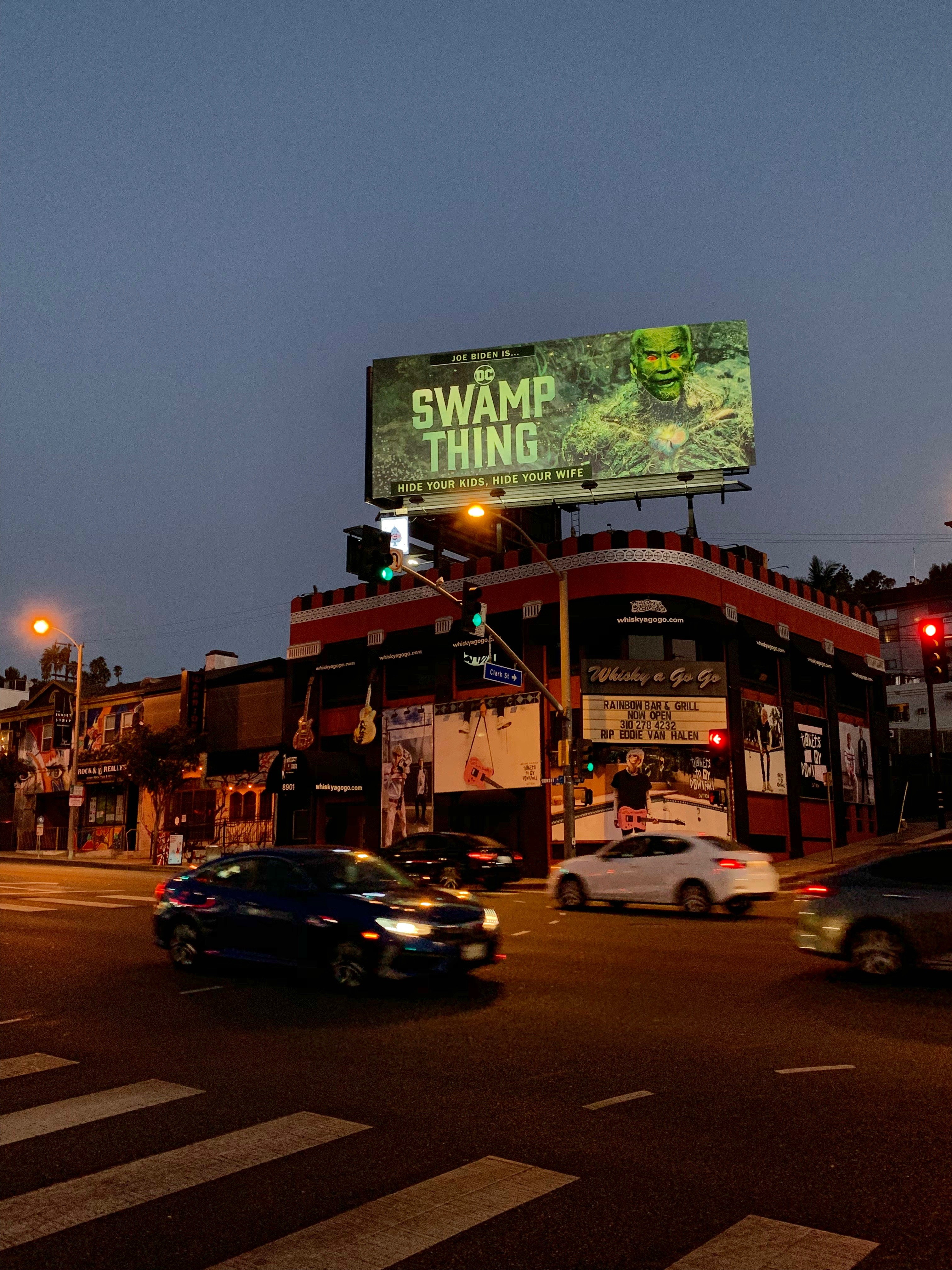 "Joe Biden is ""Swamp Thing"" on giant billboard on the Sunset Strip"