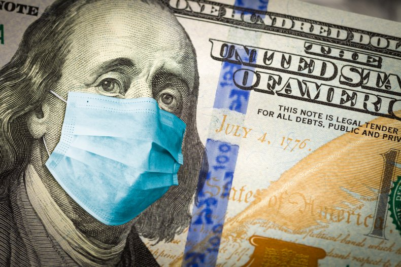 $100 Bill With Coronavirus Face Mask