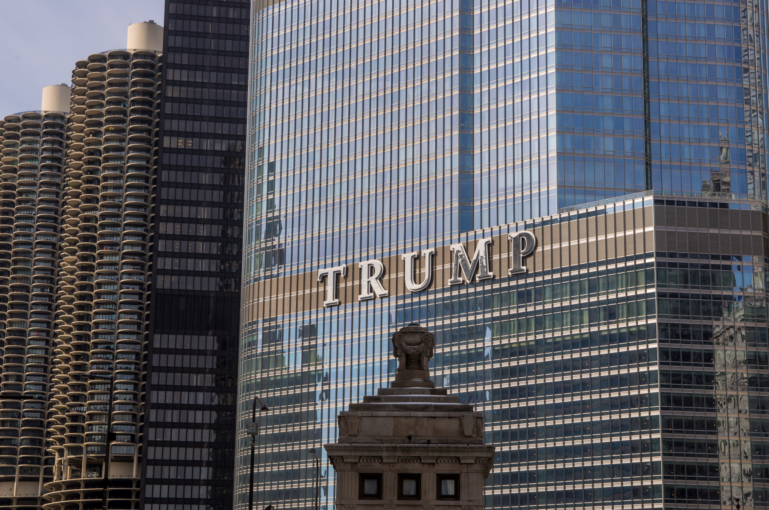 "Biden-Harris campaign logo ""bat light"" projected onto Chicago's Trump Tower"