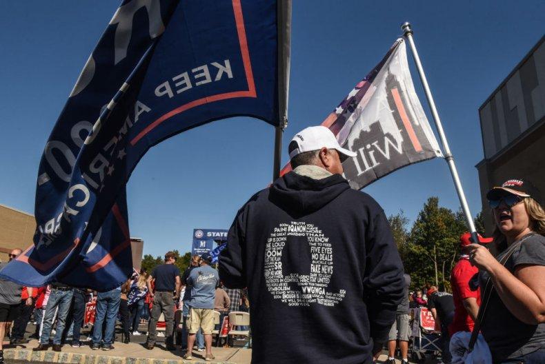 qanon conspiracy theorist donald trump rally
