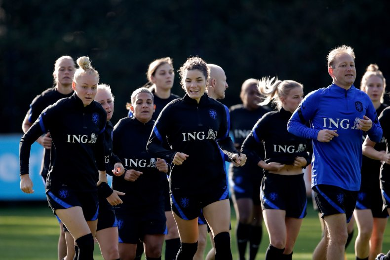 Female soccer players training in the Netherlands