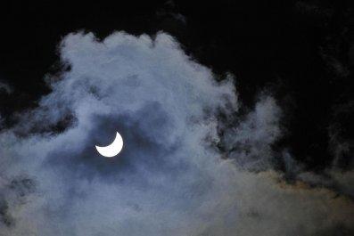 Solar eclipse sky above Nizhny Novgorod