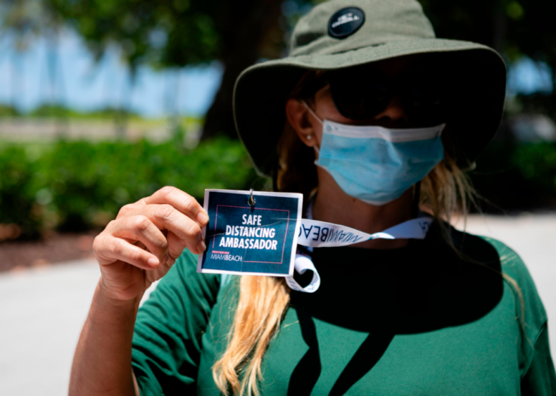 Safe distancing ambassador in Miami Beach