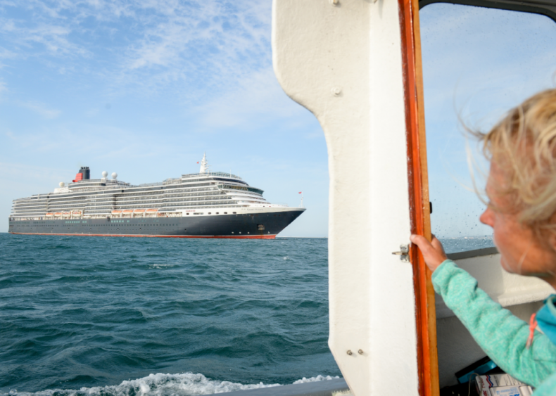 Cruise ships moored