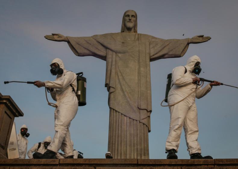 Disinfecting in Rio De Janeiro, Brazil