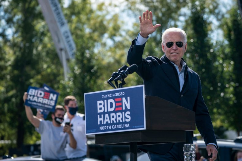 Democratic Presidential Nominee Joe Biden Waves