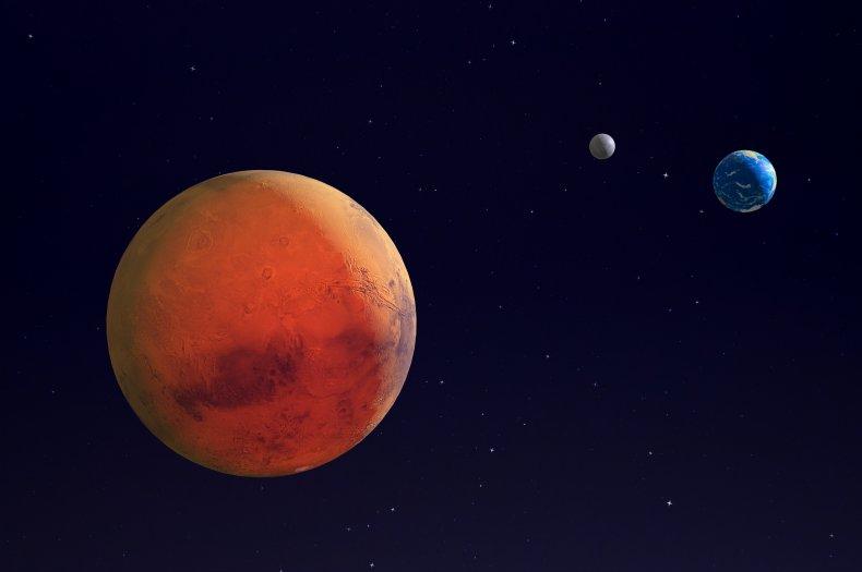 Mars, Earth, moon