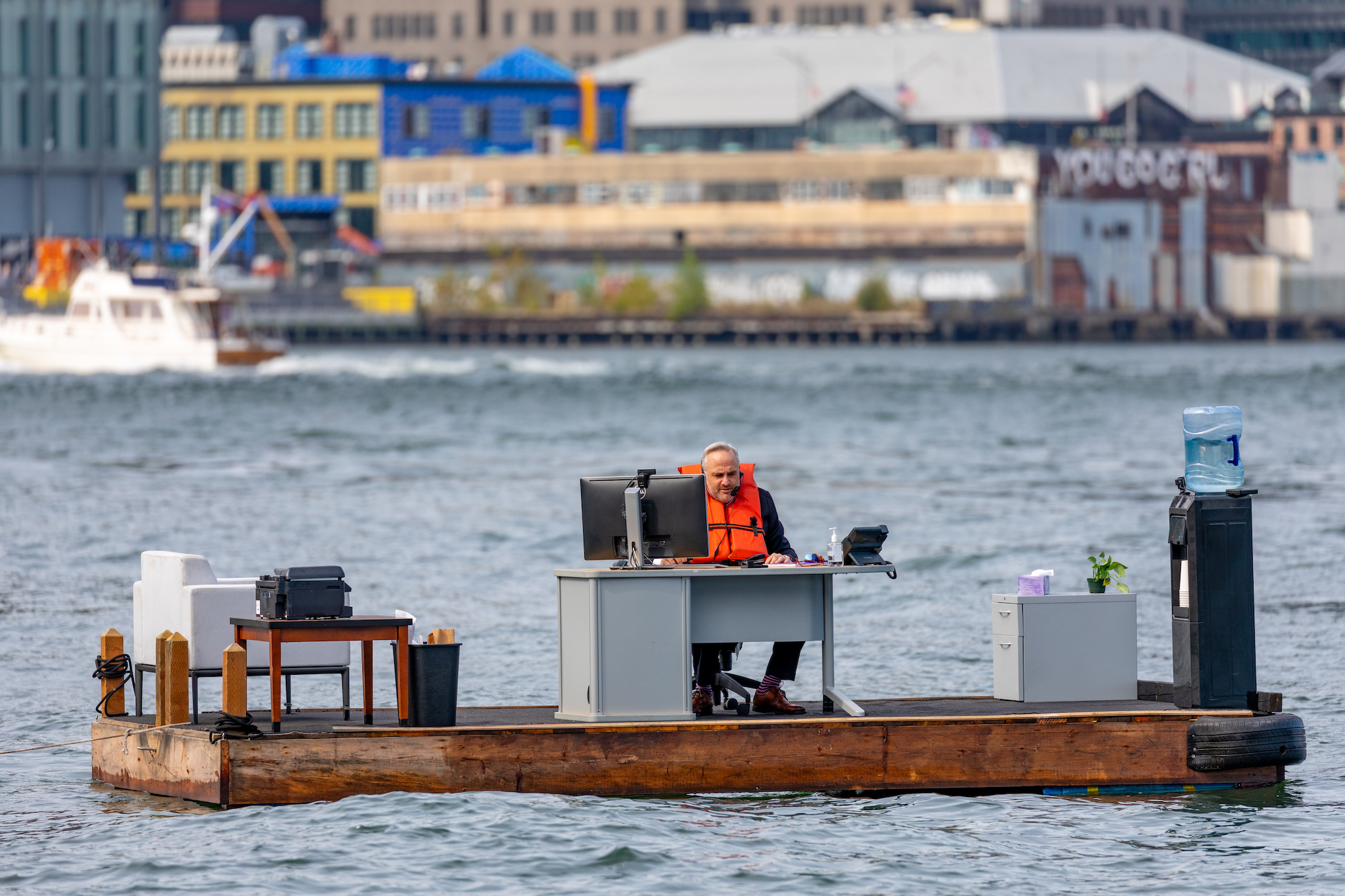 New York City's most socially distant office? It's sitting in the middle of the East River