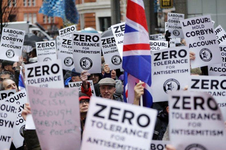 Anti-Semitism protest outside Labour HQ in London