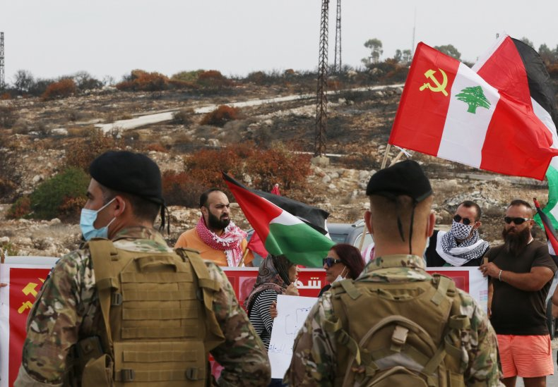 lebanon, communist, party, protest, israel, palestinian, flag