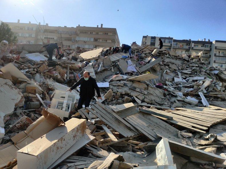 Earthquake ruins in Izmir, Turkey