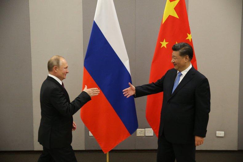 russia, putin, china, xi, meet, flags