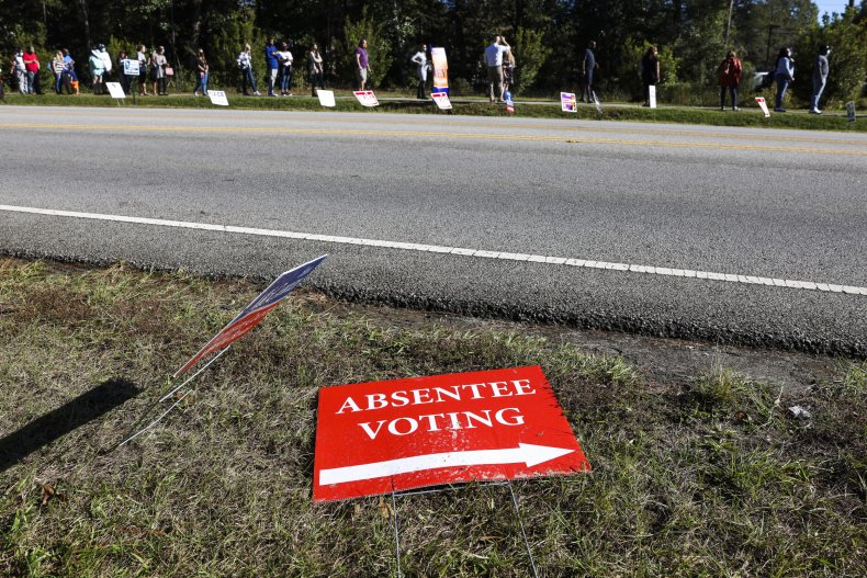 """""""Absentee voting"""" sign in South Carolina"""