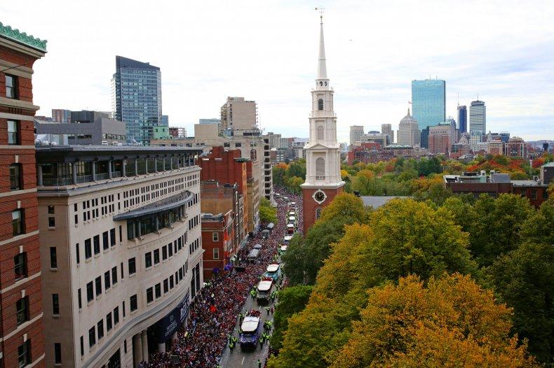 Park Street Church view Boston October 2018