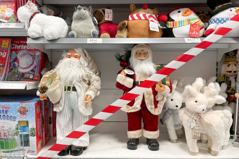 Christmas decorations in shop