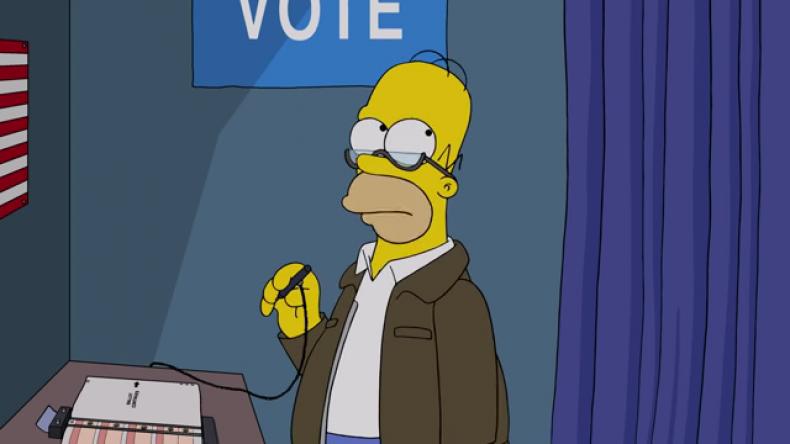 homer votes trump simpsons treehouse horror