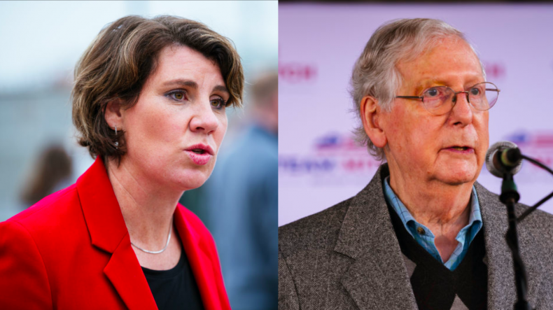 Amy McGrath and Mitch McConnell