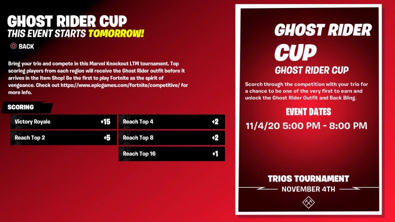 fortnite ghost rider cup start times