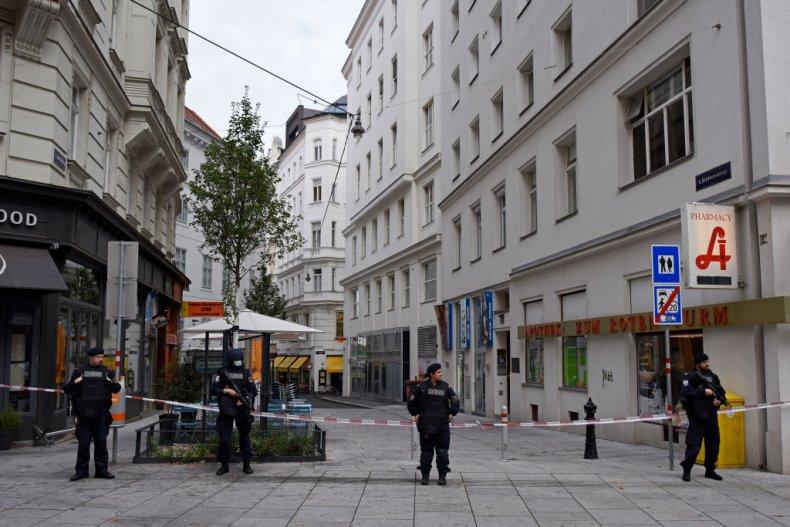 Police in Vienna, Austria, following terror attack