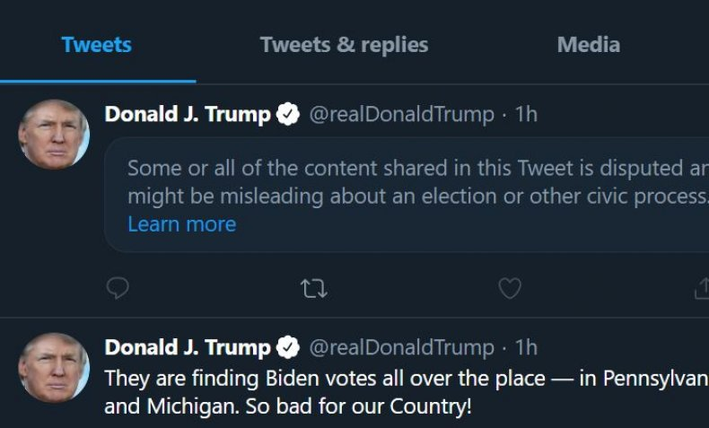 trump tweets flagged false election