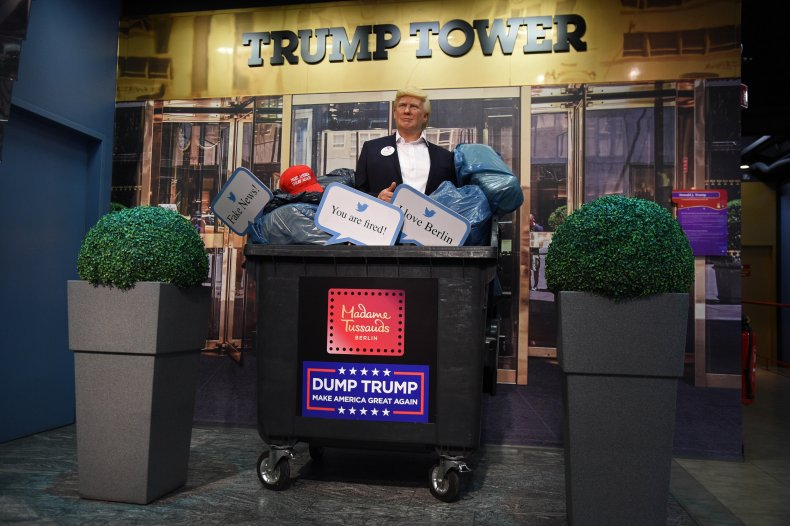 Trump Wax Figure in Dumpster