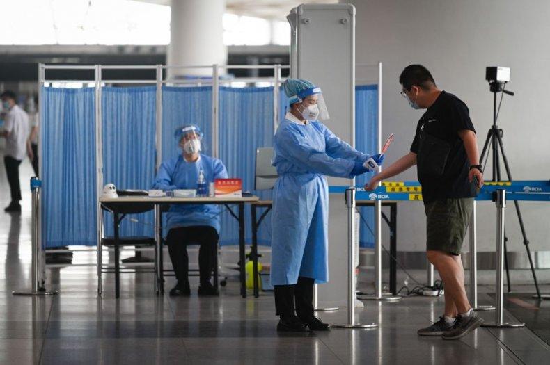 Temperature check at Beijing International Airport