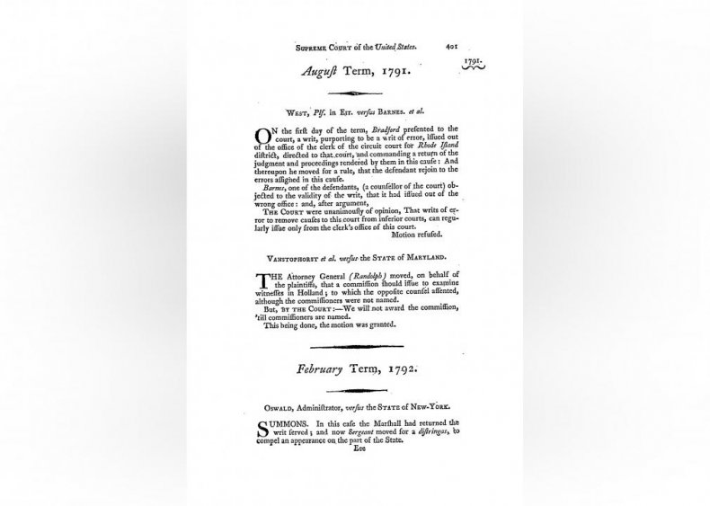 1791: The court hears its first case
