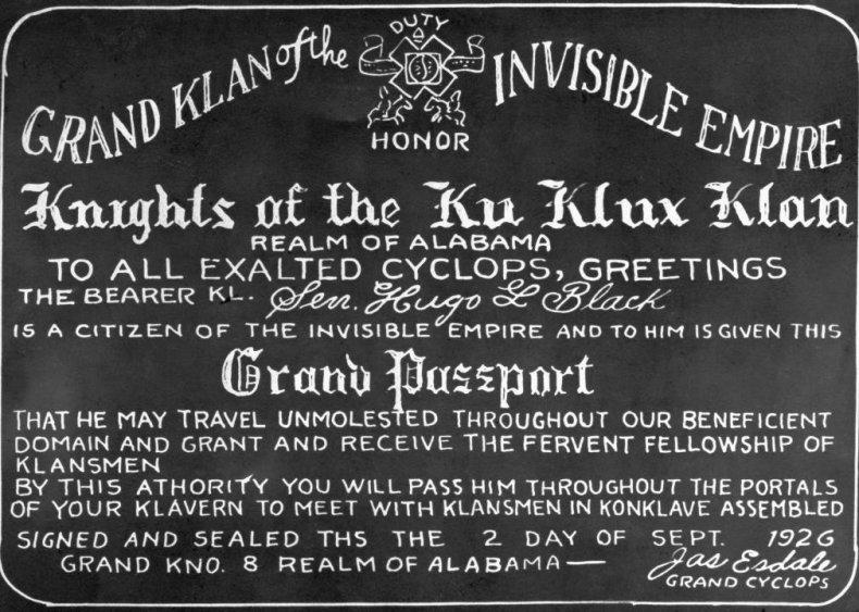 1937: Hugo Black forced to explain KKK connections